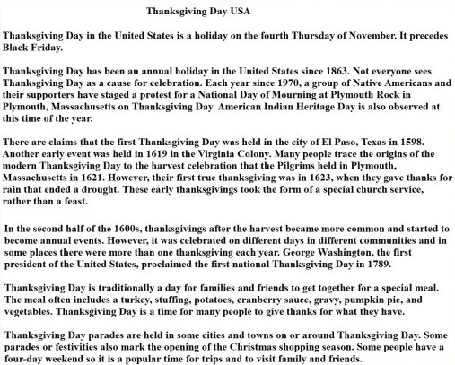 Thanksgiving Speech